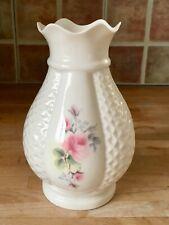 "Donegal Parian China Rose Vase -Irish ""Millennium"" 2000 AD Rose Pattern - pretty"