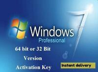 WINDOWS 7 PROFESSIONAL PRO KEY 32 / 64 BIT ACTIVATION CODE LICENSE KEY GENUINE