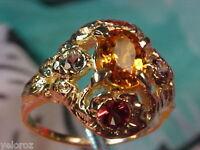 VVS Clean Fancy Rare Color Royal Mandarin Orange Solitaire SAPPHIRE 14kt Ring