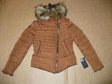 ZARA Short Puffer Down Jacket Detachable Fur Collar XS Russet NWT Quilted Anorak
