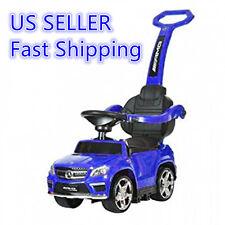 Blue Ride On Toy Push Car Stroller Mercedes Kids Child Toddler LED Lights Handle
