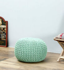 Woven pouf Living room Hand Knotted Handwoven Mint color cotton 45 diameter