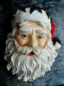VINTAGE SANTA WALL PLAQUE~XMAS DECORATION~FATHER CHRISTMAS FIGURE HEAD~FACE