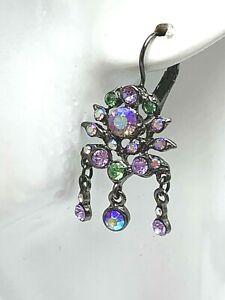 Kirks Folly Multi Colored Dangle Earrings Vintage Rhinestone AB Crystal