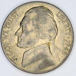 1945 D Jefferson Silver USA 5 Cent nickel. Denver Mint Mark