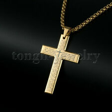 Men Gold Stainless Steel Christ Jesus Bible Cross Pendant Necklace Chain 24
