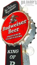 Black & Red Budweiser Double Sided Metal Sign W/ Large Marquee LED Light Bulbs