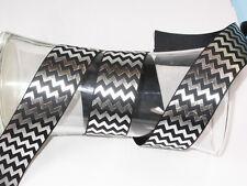 "1.1/2"" (38mm) Black & Silver Chevron Ribbon x 1 yard"