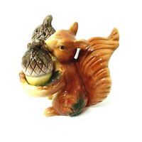 """Vintage Squirrel Holding Acorn Nuts Salt and Pepper Ceramic Shakers Large 4"""" new"""