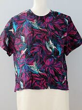 ELLEN'S DESIGN Size L Multi-Color 100% Washable Silk Short Sleeve Blouse