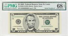 2003 $5 FEDERAL RESERVE NOTE ST LOUIS FR#1990-H PMG 68 EPQ LOW SERIAL NUMBER 8