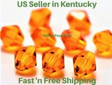 50 pcs 4mm  Bright Orange Bicone Crystal Beads for Jewelry Making, Fast Ship!