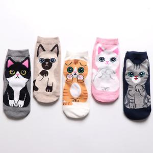 Cartoon animal print ladies cotton socks cute cat socks funny