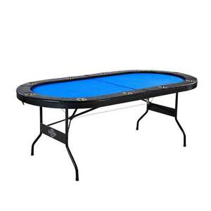 Lancaster 10 Player High Quality Blue Felt Casino Style Folding Poker Game Table