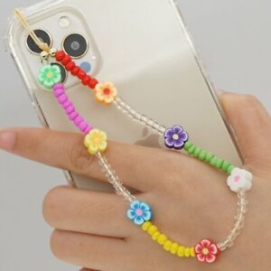 Colorful Phone Strap Lanyard Pearl Charms Soft Pottery Rope Phone Hanging Cord
