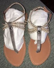 NEW Ann Taylor Loft Sandals Grey Gray Braided T-Strap Rope Size 6.5
