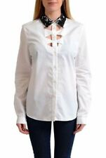 Viktor & Rolf White Women's Beads Decorated Button Down Blouse Shirt US L IT 44