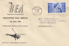 AVIATION :1948 BEA Black illustration First Flight pm Norwich-Peterborough