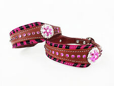 "22"" HAIR ON PINK ZEBRA BLING WESTERN STYLE LEATHER CANINE DOG COLLAR SIZE XL"