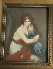 MOTHER AND DAUGHTER MINIATURE ORIGINAL OIL PAINTING AFTER CHARLES LEBRUN