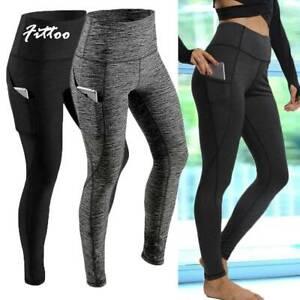 Womens High Waist Yoga Pants Pocket Gym Leggings Fitness Sports Running Tight K