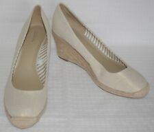 NWOB Womens Merona Metallic Gold & Ivory Wedged Espadrille Pumps Sz 9.5 M NEW
