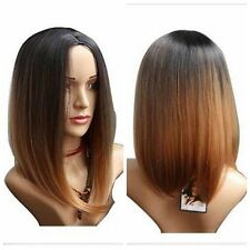 New Ombre Black Brown mix Short Straight Cosplay Anime Synthetic Full Wigs Women