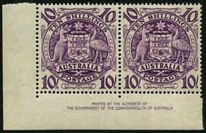 1949 (SG.224b) 10/- Arms, Authority Imprint pair, (2) superb MUH
