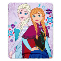 "Disney Frozen Floral Kids Elsa n Anna Fleece Throw Blanket 40"" x 50"" Lt Pink NEW"