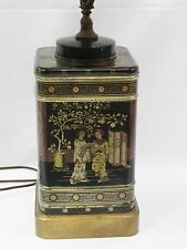 VINTAGE 60s FREDERICK COOPER CHINESE CHINOISERIE TIN TEA CANISTER LAMP