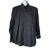 ZAGIRI Men's Button Front Flip cuff Shirt Black White Striped Size L 100% Cotton