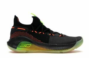 UNDER ARMOUR CURRY 6 FOX THEATER BASKETBALL SHOE MEN'S 8.5 BLACK YELLOW