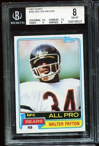 1981 Topps Football #400 WALTER PAYTON Chicago Bears BGS 8 NM-MT