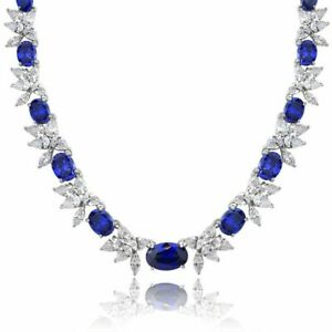 8.00 CT Round Cut D/VS1 Diamond & Blue Sapphire Necklace 14K White Gold Over