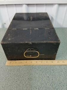 "Vintage Metal Bank Safety Deposit Box, 14"" x 9 1/2"" x 4 3/4"" tall"