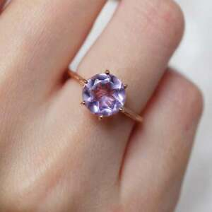 9 MM Natural Round Purple Amethyst Wedding Engagement Ring 14kt Real Rose Gold