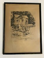 "Rare Philip Kappel Signed Artwork 8""X10"" Etching In Vintage 12""X16"" Wood Frame"