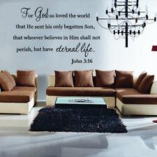 John 3:16 Bible Verse Vinyl Wall Stickers Decals Scripture Quote Home Word Decor