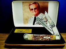"CASE XX George Jones""MR.COUNTRY MUSIC""Amber Bone Trapper Knife & G.J.Display/New"