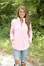 US Womens Jumper Tops Long Sleeve Zip Up Fleece Loose Ladies Sweater Blouse Top