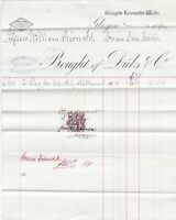 Glasgow Locomotive Works Duls & Co.1894 As Monthly Sment Stamp Invoice Ref 41526