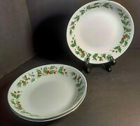 Christmas China Pearl Noel Soup Bowl Set of 3 Holly & Berries Black Backstamp