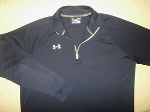 UNDER ARMOUR ALL SEASON GEAR 1/4 ZIP LONG SLEEVE NAVY BLUE SHIRT MENS XL EXCELL.