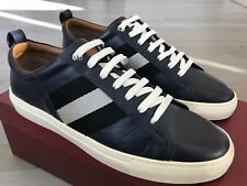 600$ Bally Helvio Navy Blue Leather Sneakers size US 13