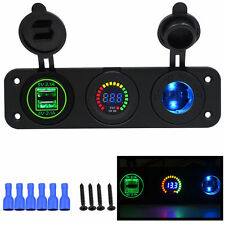 Colorful Triple 4.2 Amp USB Charger + Voltmeter + 12V Socket Panel Marine Outlet