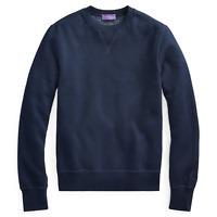 Ralph Lauren Purple Label Mens Cotton Blend Navy Silky Fleece Sweatshirt Sweater