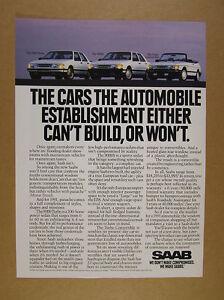 1991 Saab 9000 Turbo 9000S & Turbo Convertible white car photo print Ad