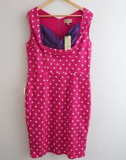NWT Lindy Bop Vanessa dress size 18 pink polka dots pencil sweetheart neckline s