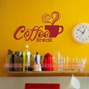 Kitchen Wall Decal Coffee Break Sticker Quotes Decor Vinyl Art Letter