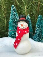 Miniature Dollhouse FAIRY GARDEN ~ Mini Resin CHRISTMAS Snowman with Cloth Scarf